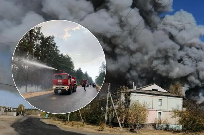 На Луганщині влаштували новий підпал: здетонували снаряди, вогонь наблизився до електростанції