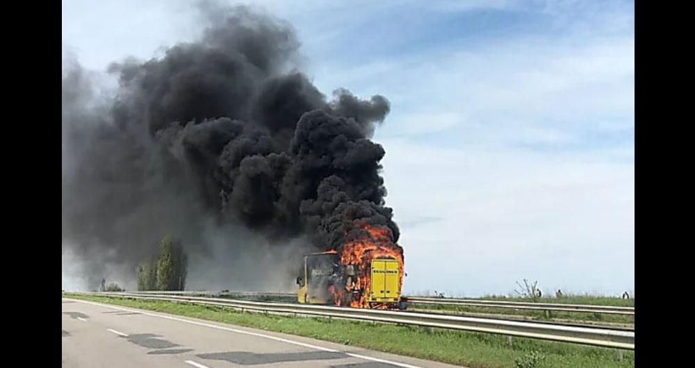 На трассе «Одесса-Киев» вспыхнул пассажирский автобус
