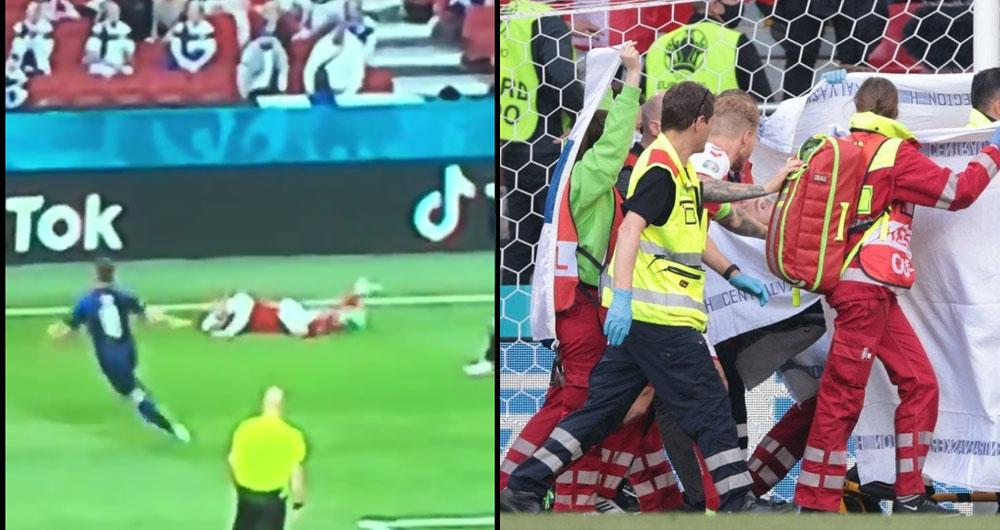Видео момента падения Кристиана Эриксена на поле во время матча Дания — Финляндия