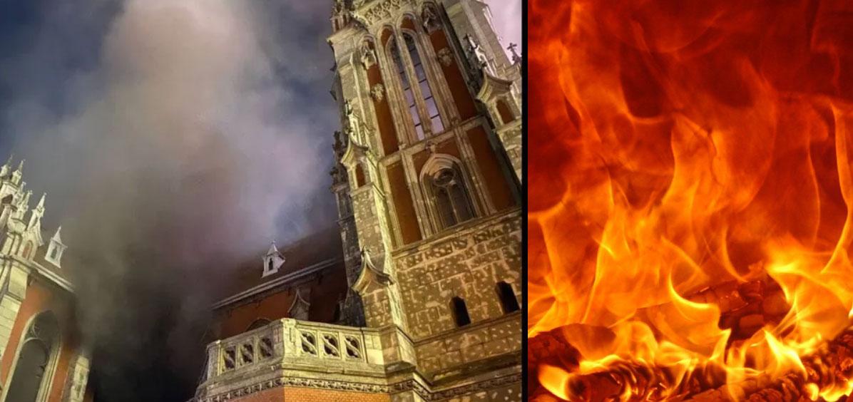 В Киеве горит костел святого Николая. ВИДЕО