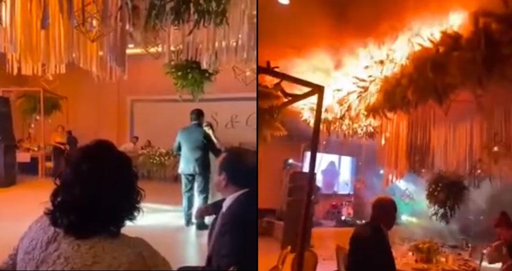 Видео: Свадьба закончилась сильнейшим пожаром. Гостей пришлось экстренно эвакуировать